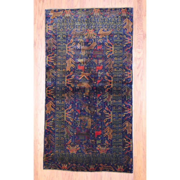 Afghan Hand-knotted Tribal Balouchi Navy/ Red Wool Rug (3'10 x 6'11)