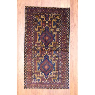 Afghan Hand-knotted Tribal Balouchi Navy/ Brown Wool Rug (3'6 x 6'5)