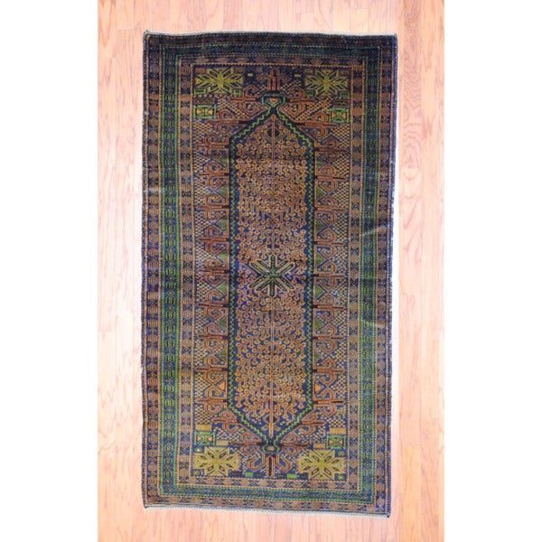 Afghan Hand-knotted Tribal Balouchi Light Brown/ Green Wool Rug (3'6 x 6'9)