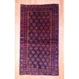 Afghan Hand-knotted Tribal Balouchi Black/ Red Wool Rug (3'8 x 6'7)