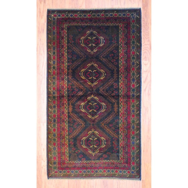 Afghan Hand-knotted Tribal Balouchi Black/ Light Brown Wool Rug (3'8 x 6'6)