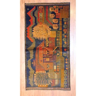 Afghan Hand-knotted Tribal Balouchi Navy/ Rust Wool Rug (3'6 x 6'9)