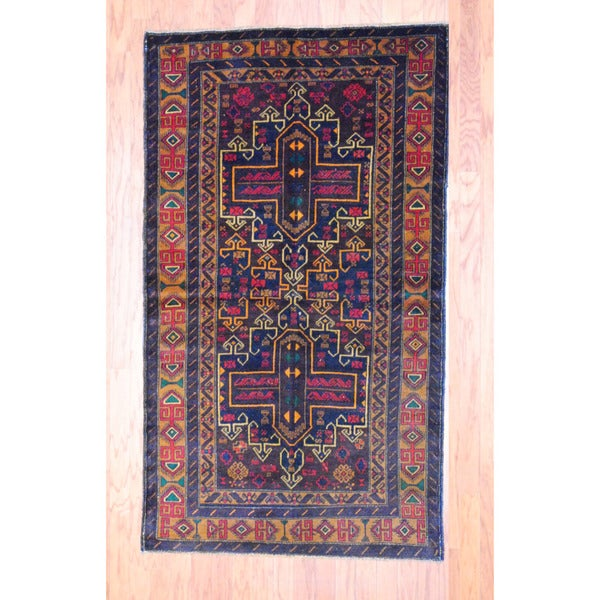 Afghan Hand-knotted Tribal Balouchi Navy/ Rust Wool Rug (3'8 x 6'5)
