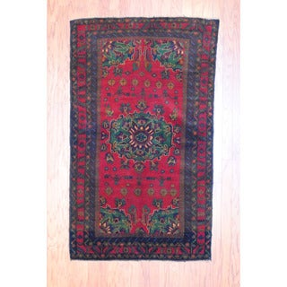 Afghan Hand-knotted Tribal Balouchi Burgundy/ Green Wool Rug (3'6 x 6')
