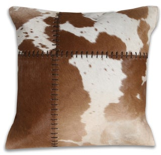 Marlo Lorenz Cow Hide Tan 16-inch Decorative Pillow