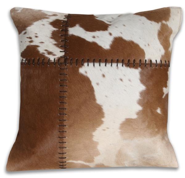 Marlo Lorenz Cow Hide Tan 16-inch Decorative Pillow