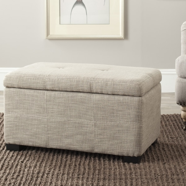 Safavieh Maiden Light Grey Tufted Storage Bench