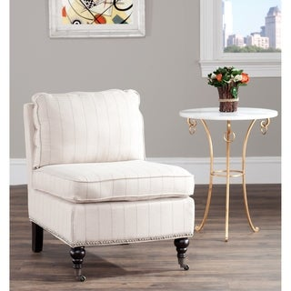 Safavieh Randy Beige Pinstripe Armless Club Chair