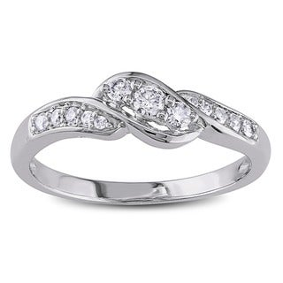 Miadora 10k White Gold 1/4ct TDW Diamond Engagement Ring (G-H, I1-I2) with Bonus Earrings