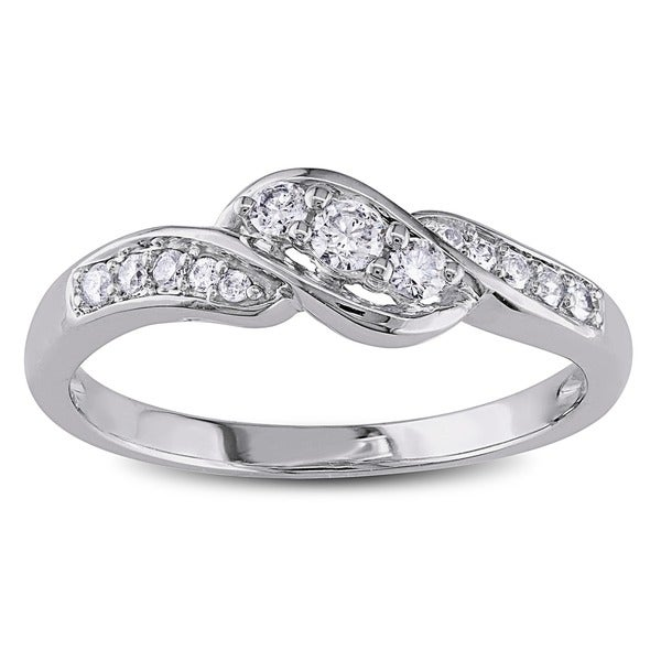 Miadora 10k White Gold 1/4ct TDW Diamond Engagement Ring (G-H, I1-I2)