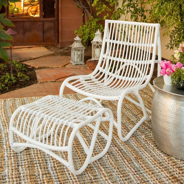 Safavieh Shenandoah White Wicker Chair and Ottoman Set
