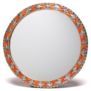 18-Inch Round Hand-Carved Henna Bone Moroccan Mirror (Morocco)
