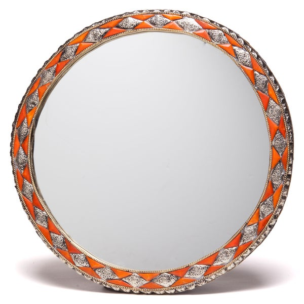 18-Inch Round Hand-Carved Henna Bone Moroccan Mirror , Handmade in Morocco