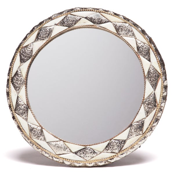 11-Inch Round Hand-Carved Bone Moroccan Mirror , Handmade in Morocco