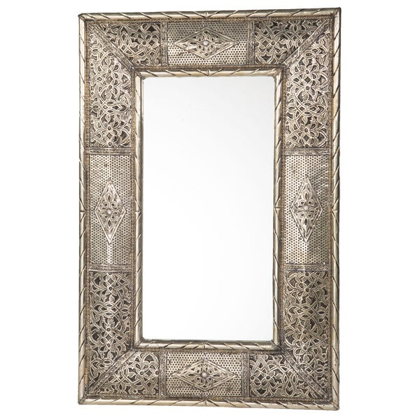 24-Inch Handcrafted Metalwork Moroccan Mirror , Handmade in Morocco
