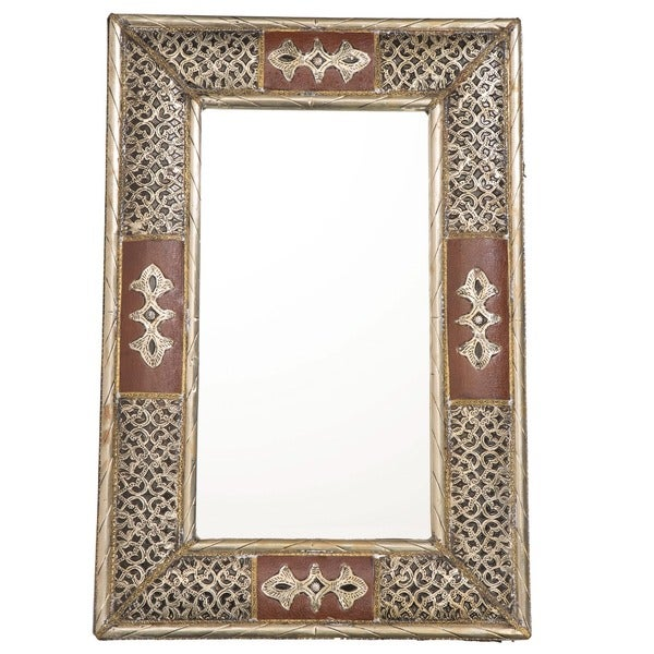 24-Inch Handcrafted Metalwork and Leather Moroccan Mirror (Morocco)