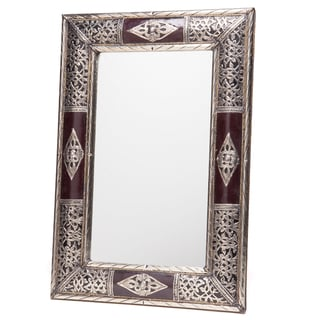24-Inch Handcrafted Metalwork and Leather Mirror (Morocco)