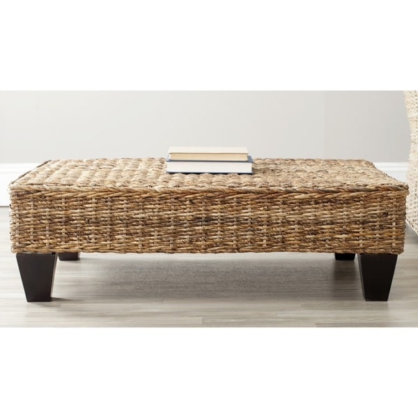 Leary Natural Wicker Color Wood Furniture Ottoman Coffee Table Bench Stool Seat Ebay