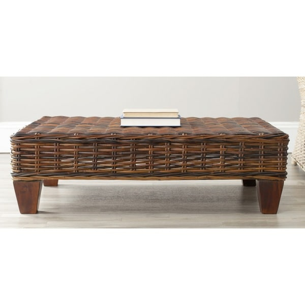 Safavieh Leary Brown Wicker Bench