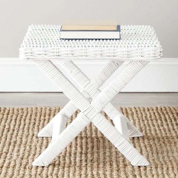 Safavieh Manor White Wicker X-Bench