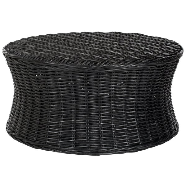 Safavieh Ruxton Storage Black Wicker Ottoman