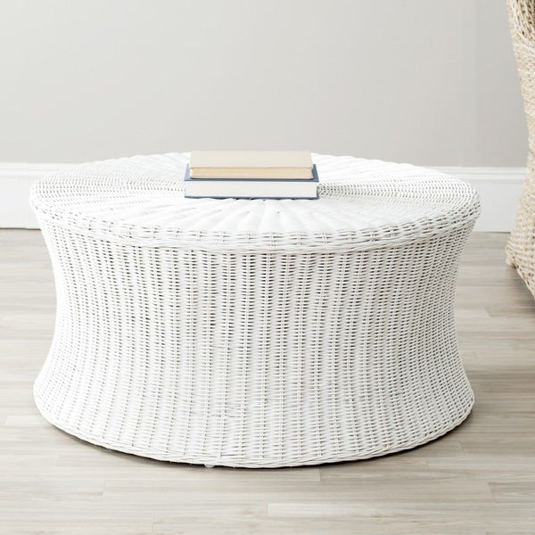 Safavieh Ruxton Storage White Wicker Ottoman
