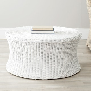 Safavieh Ruxton White Wicker Ottoman