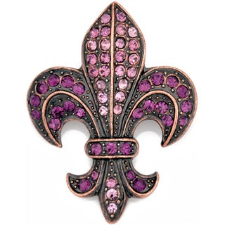 Silvertone Purple Crystal Fleur de Lis Sign Brooch