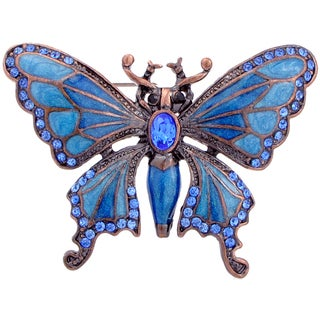 Rosetone Blue Crystal Art Deco Butterfly Brooch