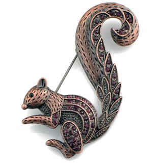 Rosetone Purple Crystal Squirrel Brooch