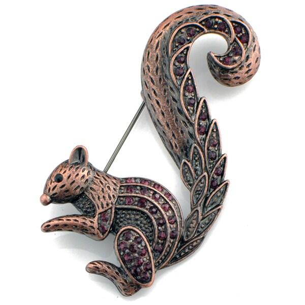 Rosetone Purple Crystal Squirrel Brooch