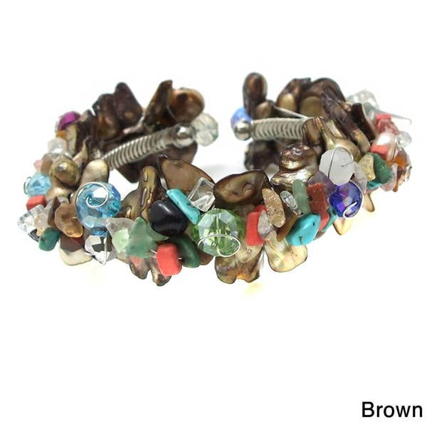 Handmade Natural Clusters Sea Shells and Multistone Cuff (Philippines) 10049915