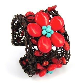Floral Garland Cotton Rope Net Adjustable Cuff (Thailand)