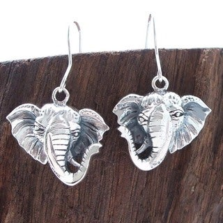 Safari Elephant Head Dangle .925 Silver Earrings (Thailand)