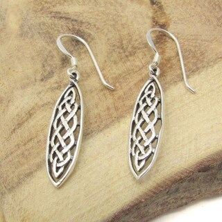 Marquise Celtic Drop Silver Dangle Earrings (Thailand)