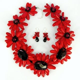 Red Water Lotus Howlite Stones Jewelry Set (Thailand)