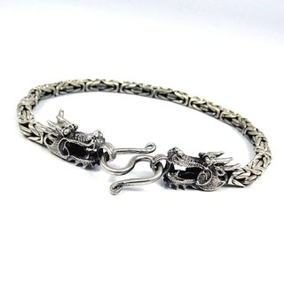 Double Headed Dragon Balinese Sterling Silver Bracelet (Thailand)