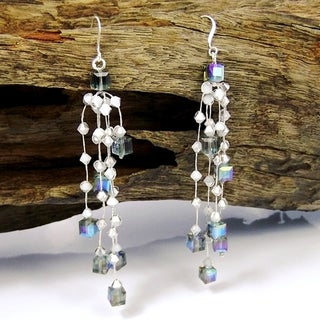 Sparkly Ruffles Mix Crystal Glass Silk Thread Earrings (Thailand)