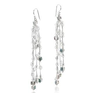 Handmade Sparkly Ruffles Mix Crystal Glass Silk Thread Earrings (Thailand)