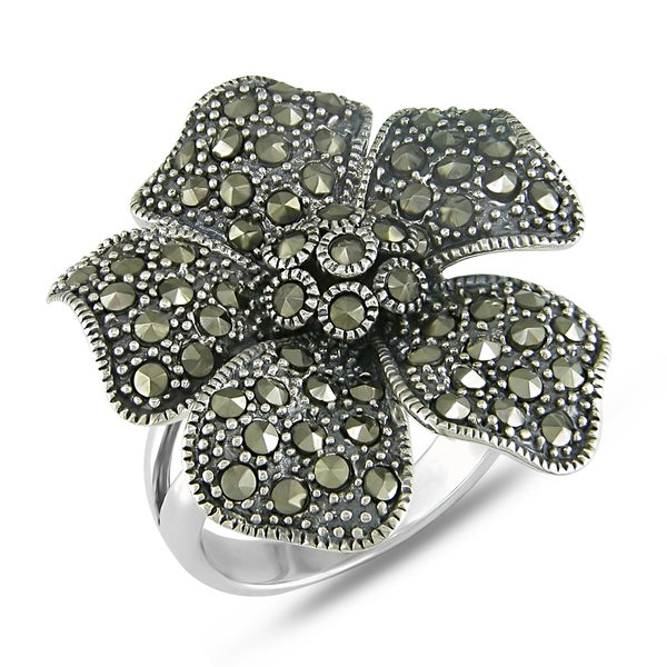 Miadora Sterling Silver Marcasite Flower-shaped Ring