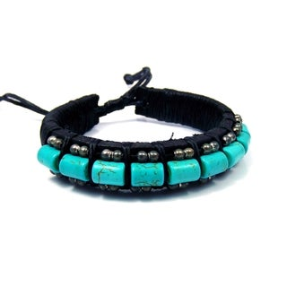 Charming Turquoise Rolls Leather Bracelet (Thailand)