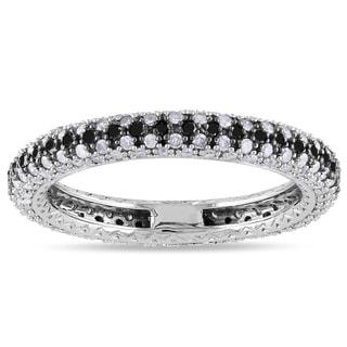 Miadora 14k White Gold 1ct TDW Black-and-white Pave Diamond Ring (G-H, I1-I2) with Bonus Earrings
