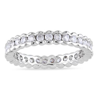 Miadora Certified 14k White Gold 1ct TDW Diamond Eternity Ring (G-H, I1-I2)