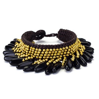 Onyx and Brass Bead Wax Cord Bracelet (Thailand)