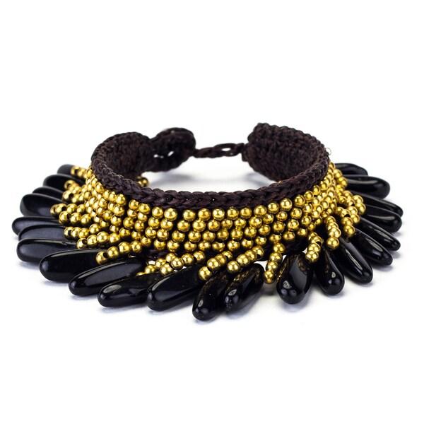 Onyx and Brass Bead Wax Cord Bracelet (Thailand)