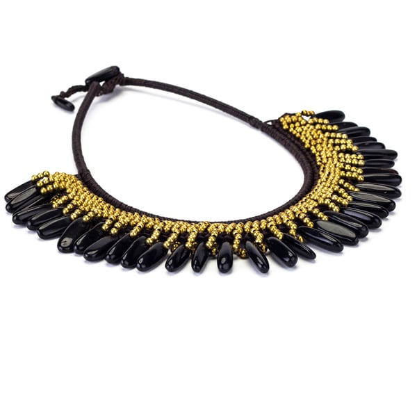 Onyx and Brass Bead Wax Cord Necklace (Thailand)