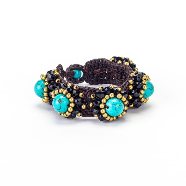 Turquoise, Crystal and Brass Bead Wax Cord Bracelet (Thailand)