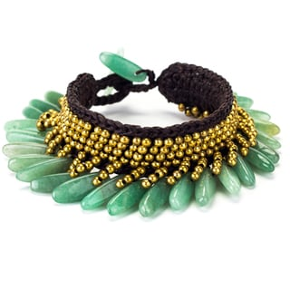 Jade and Brass Bead Wax Cord Bracelet (Thailand)