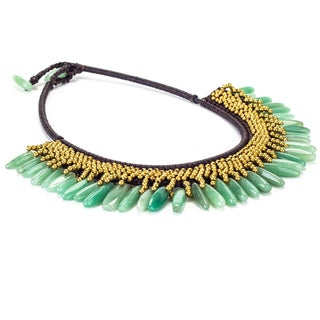 Jade and Brass Bead Wax Cord Necklace (Thailand)