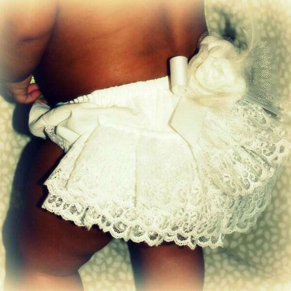Just Girls White Lace Ruffle Baby Bloomers Set